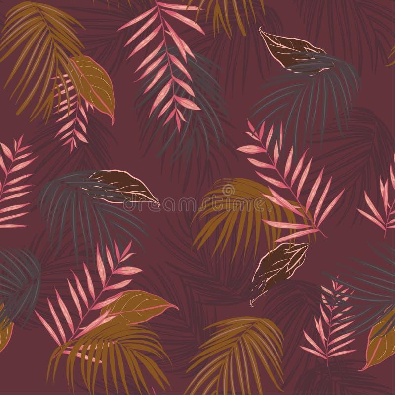 Planterar exotisk tropisk vektorbakgrund för tappning med hawaiibo a vektor illustrationer