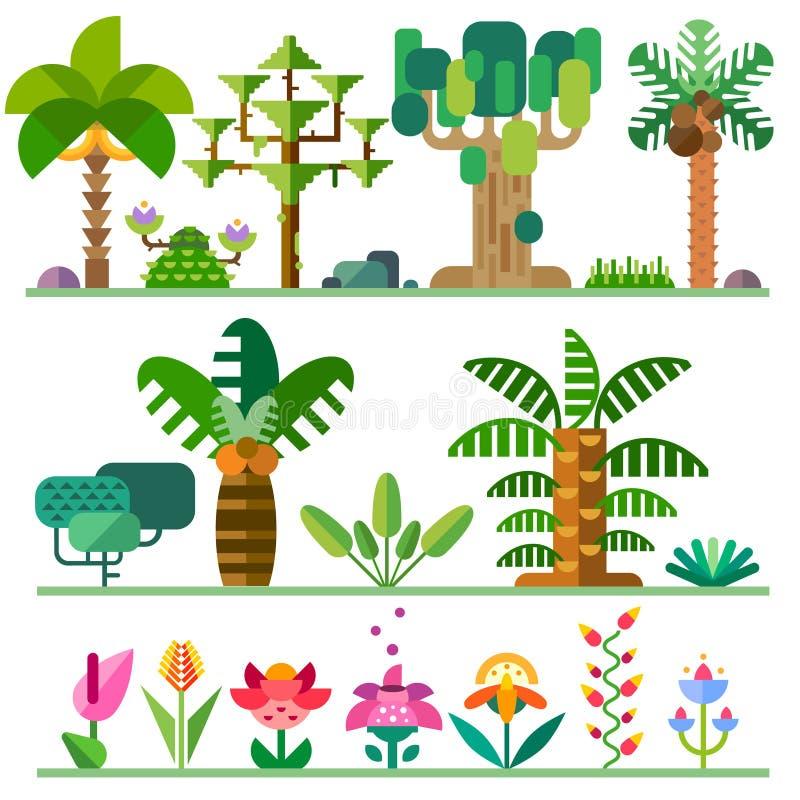planterar tropiskt vektor illustrationer