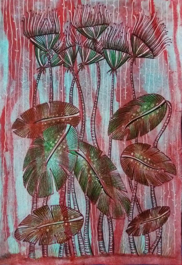 planterar tropiskt Hand målad abstrakt vattenfärgillustration arkivfoto