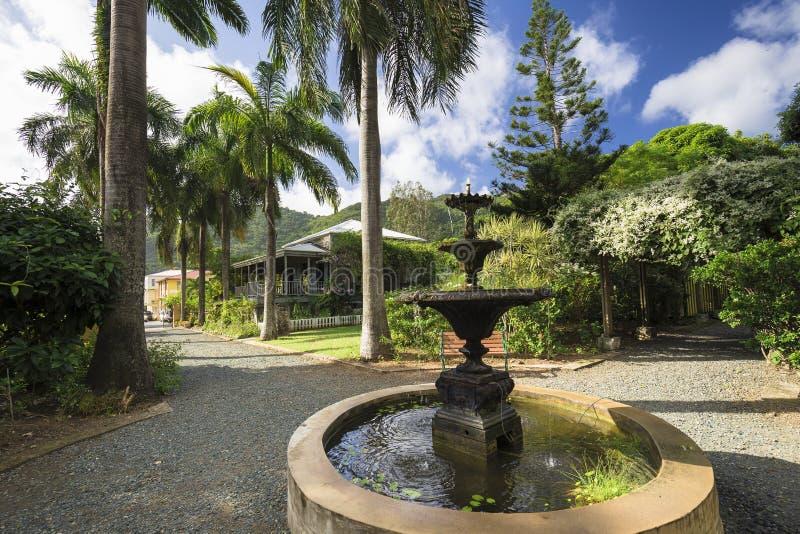 Planterhus i botanisk trädgård Vägstad, Tortola arkivbild