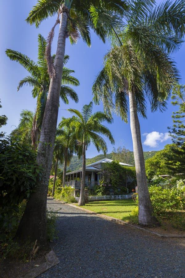 Plantershuis in botanische tuin Wegstad, Tortola stock afbeelding