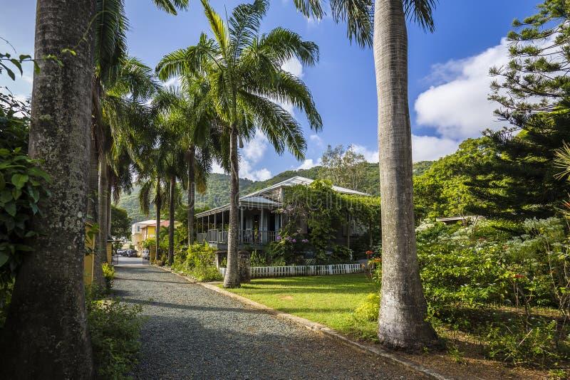 Plantershuis in botanische tuin Wegstad, Tortola royalty-vrije stock afbeelding