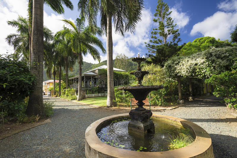 Plantershuis in botanische tuin Wegstad, Tortola stock fotografie
