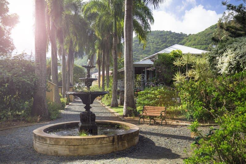 Plantershuis in botanische tuin Wegstad, Tortola royalty-vrije stock foto's