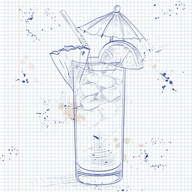 Planterstansmaskincoctail på en anteckningsboksida royaltyfri illustrationer