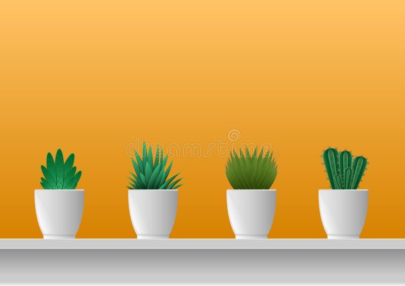 Plantes d'intérieur dans mis en pot le mur jaune illustration stock