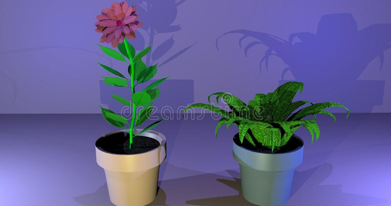 Plantes en pot peu communes illustration stock