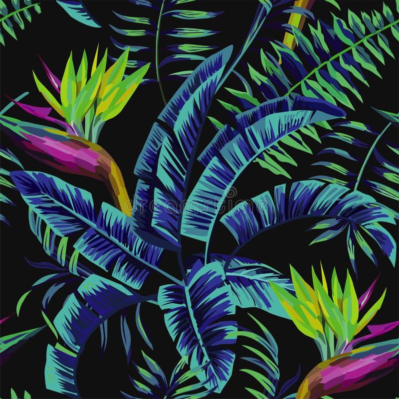 Plantes tropicales pendant la nuit de jungle illustration de vecteur