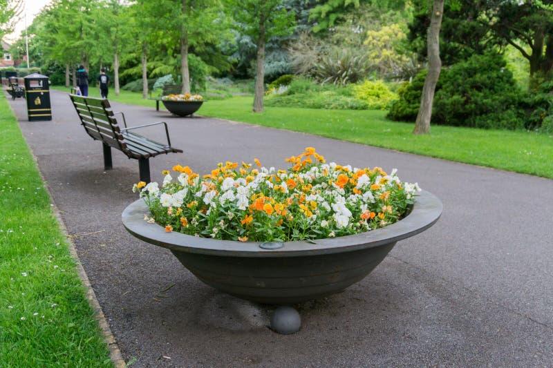 Planteur avec les fleurs colorées mélangées en parc photo stock