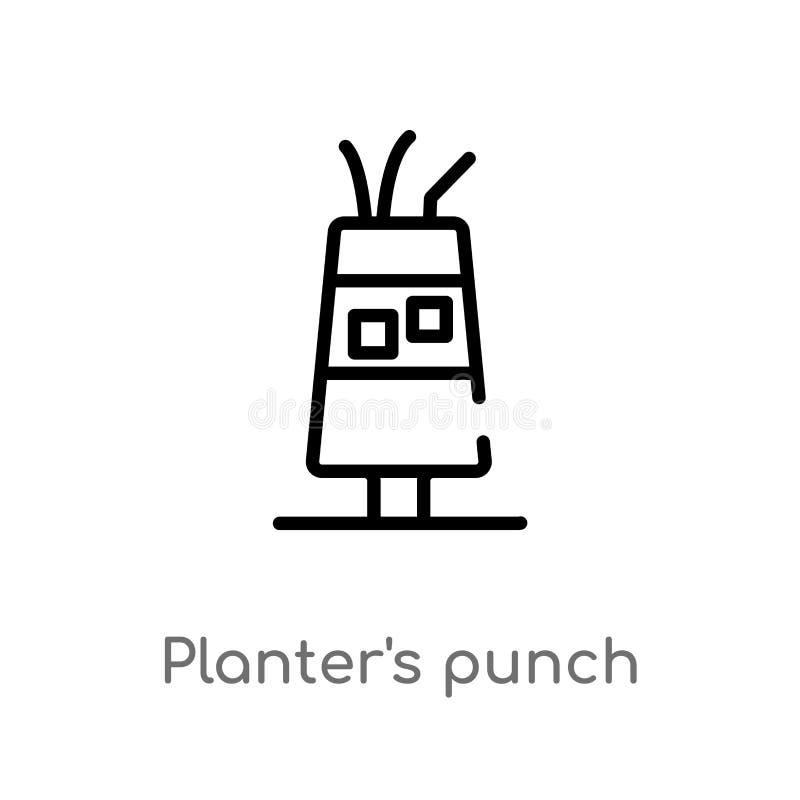 """planteur d'ensemble \ """"icône de vecteur de poinçon de s ligne simple noire d'isolement illustration d'élément de concept de boiss illustration libre de droits"""