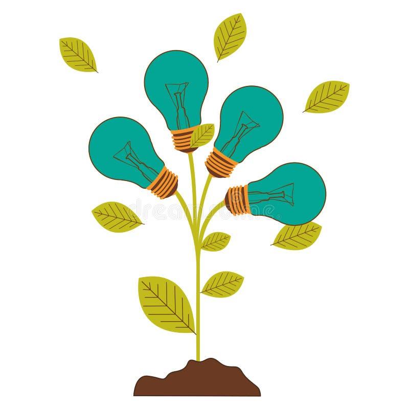 plantez la tige avec des feuilles et les ampoules incandescentes avec la turquoise légère illustration libre de droits