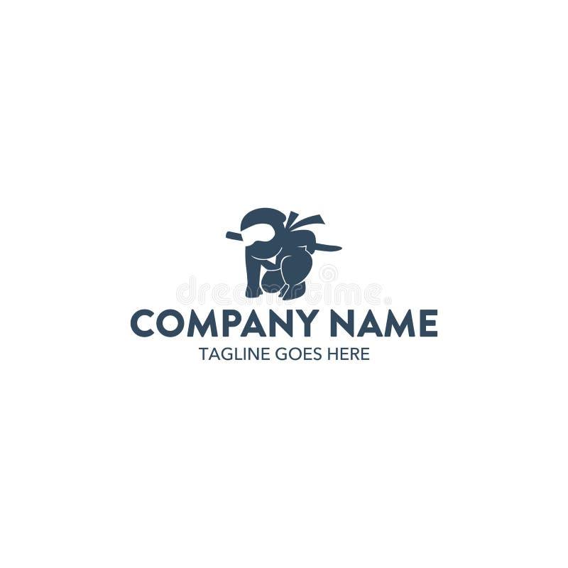 Plantilla única del logotipo del carácter de la mascota del ninja Vector editable libre illustration