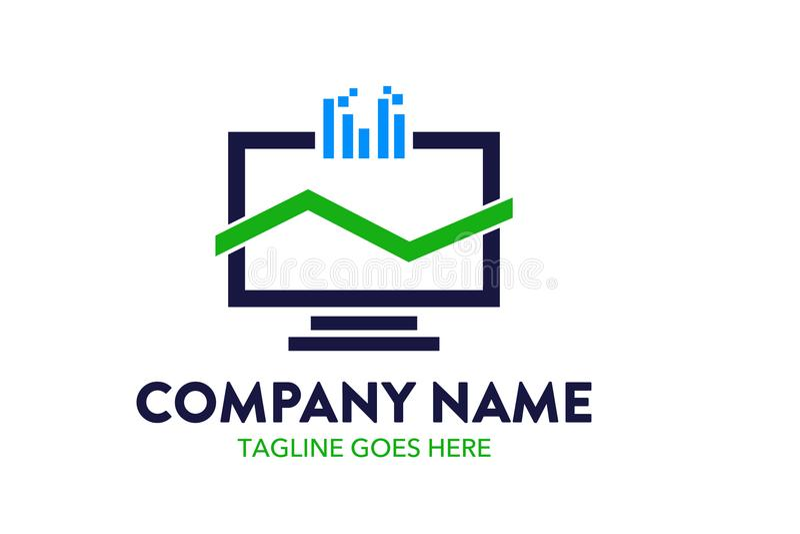 Plantilla única y original del logotipo del ordenador y del establecimiento de una red libre illustration