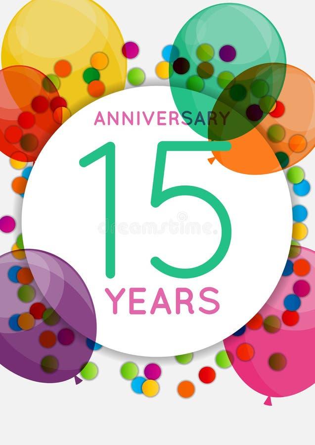Plantilla 15 Años De Enhorabuena Del Aniversario Tarjeta De