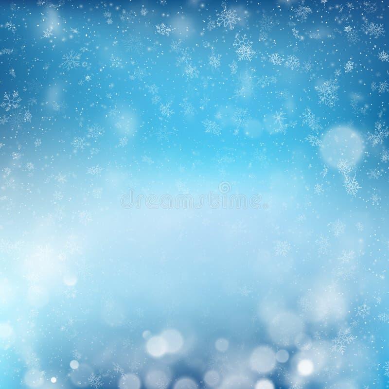 Plantilla abstracta azul de la celebración del Año Nuevo del diseño del fondo del invierno de Christmass con los copos de nieve E stock de ilustración