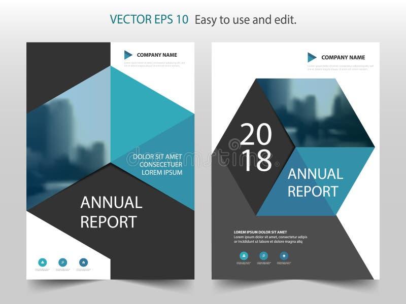 Plantilla abstracta azul del diseño del informe anual del folleto del hexágono stock de ilustración
