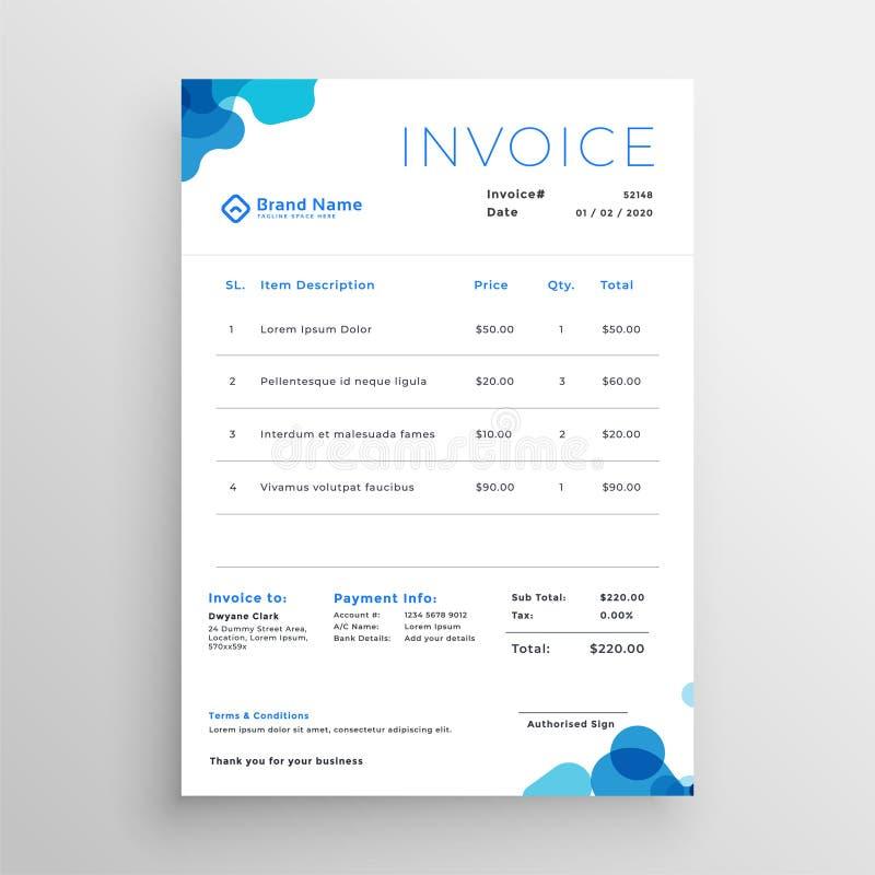 Plantilla abstracta azul limpia de la factura del negocio stock de ilustración