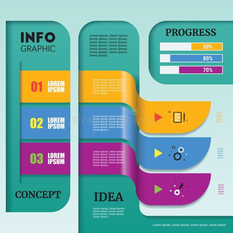 Plantilla abstracta de Infographic de la cronología con el arte de papel colorido D ilustración del vector