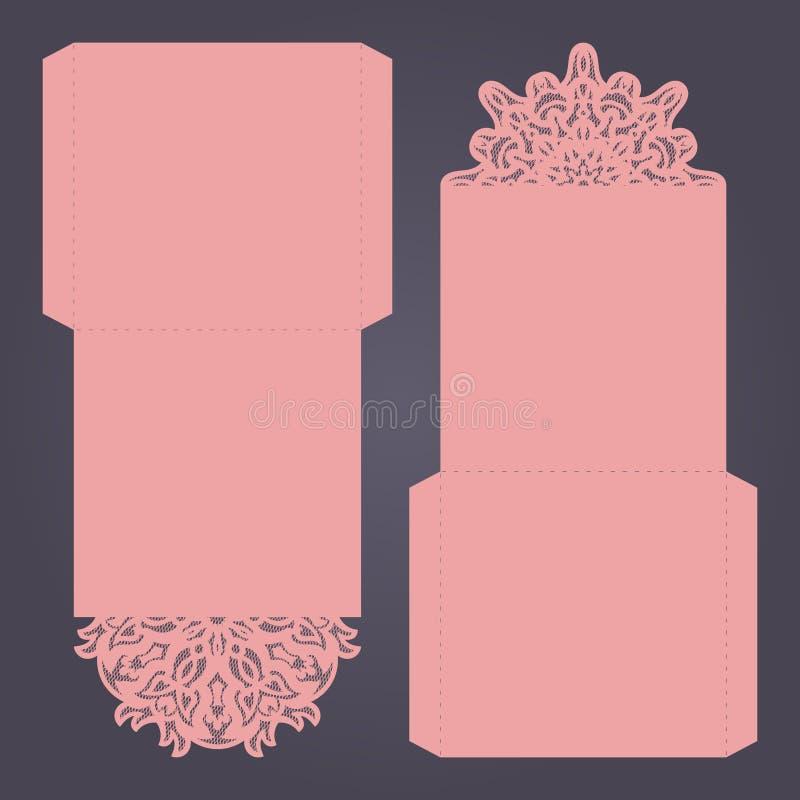 Plantilla abstracta de la invitación del recorte de la boda Conveniente para lasercutting Dobleces del cordón libre illustration
