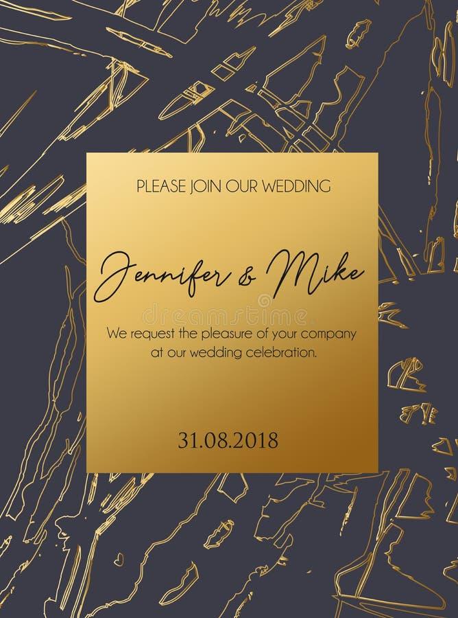 Plantilla abstracta de la tarjeta de la invitación o de felicitación para casarse, engag ilustración del vector