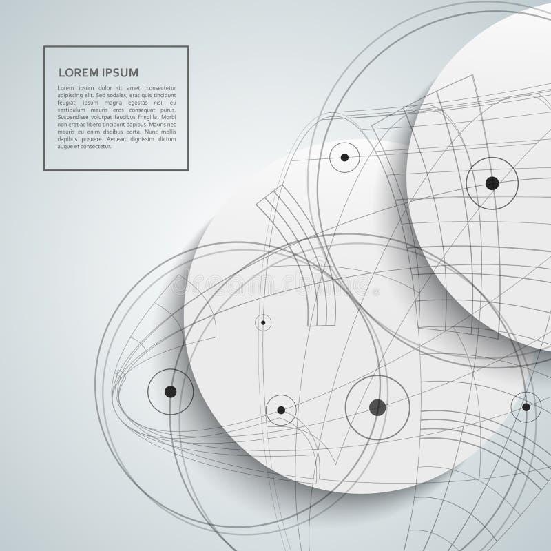 Plantilla abstracta del diseño del círculo Puntos y líneas fondo stock de ilustración