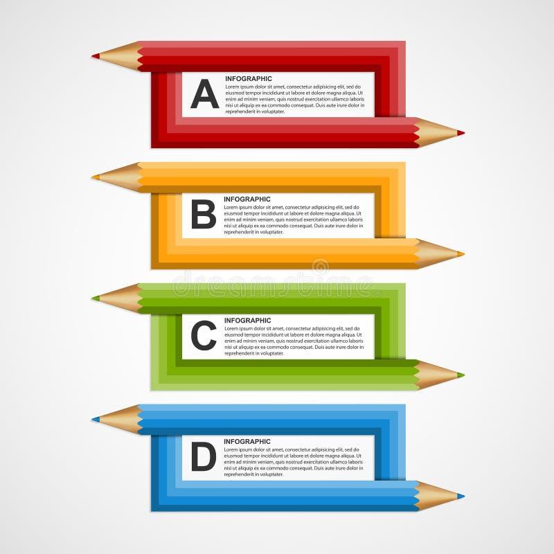 Plantilla abstracta del diseño de Infographics de la opción del lápiz de la educación ilustración del vector