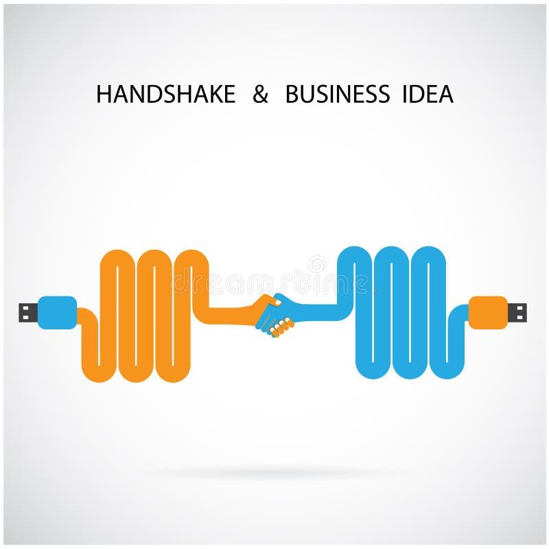 Plantilla abstracta del diseño de la muestra del apretón de manos Conce creativo del negocio libre illustration
