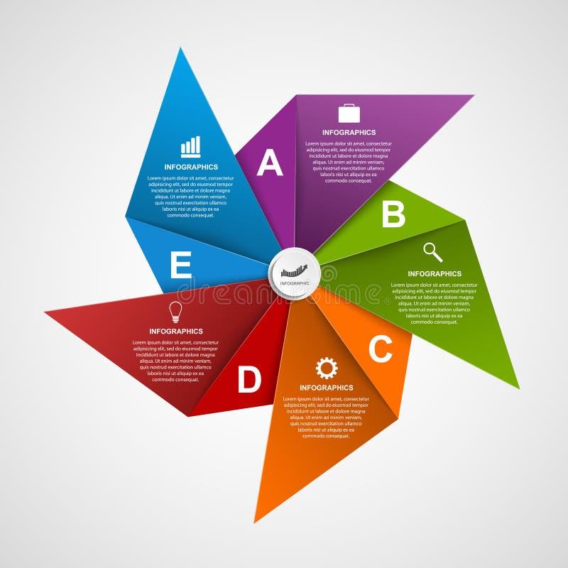 Plantilla abstracta del diseño del infographics de las opciones en la forma del molinillo de viento del aire ilustración del vector
