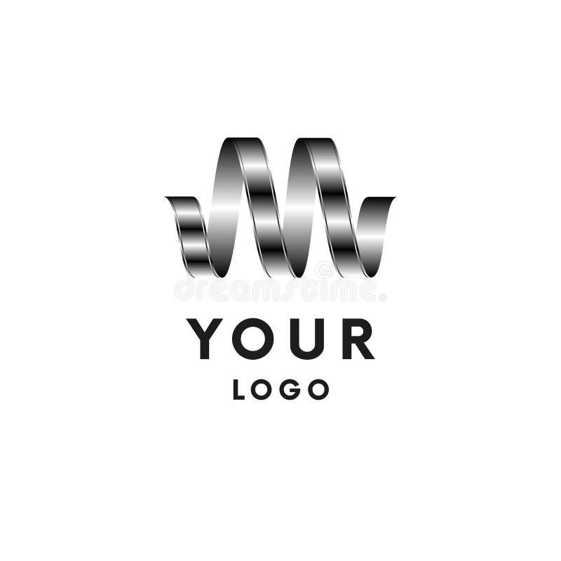 Plantilla abstracta del diseño del logotipo de la letra m Icono gris de la cinta Símbolo de la onda Vector ilustración del vector