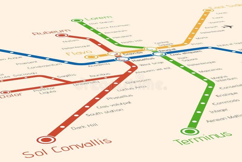 Plantilla abstracta del diseño del mapa del metro o del subterráneo libre illustration
