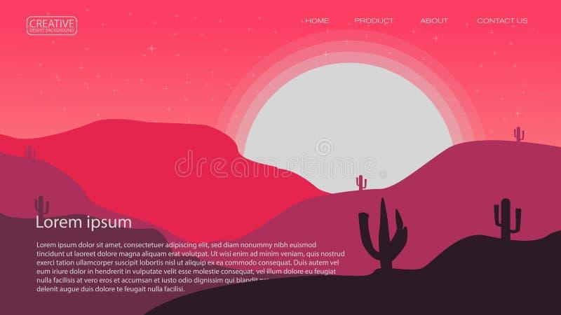 plantilla abstracta del ejemplo del vector del fondo del desierto conveniente para el cartel de aterrizaje y otro de la revista d stock de ilustración