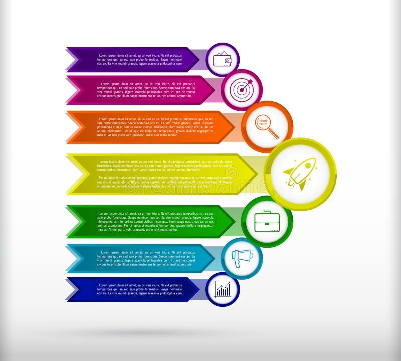 Plantilla abstracta del infographics con las flechas Elementos planos del diseño stock de ilustración