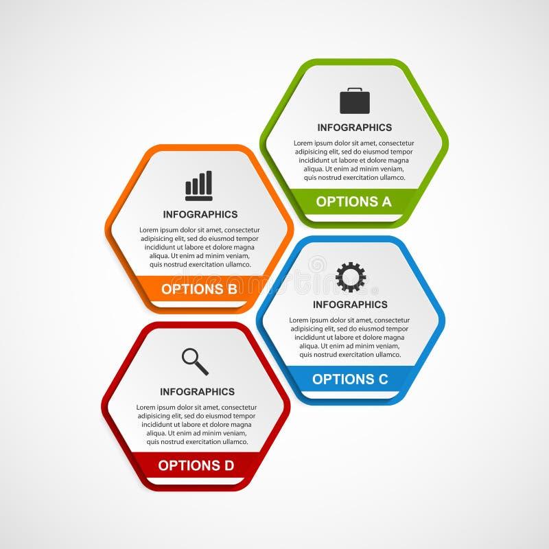 Plantilla abstracta del infographics de las opciones del negocio del hexágono 3D ilustración del vector