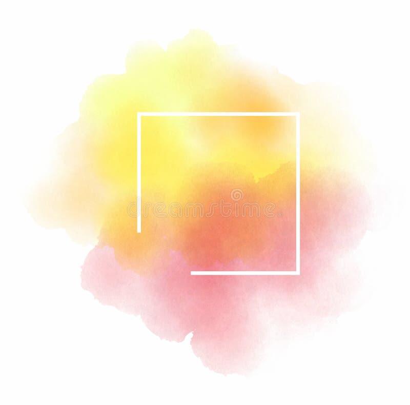 Plantilla abstracta del logotipo de la acuarela en el fondo blanco aislado imagenes de archivo