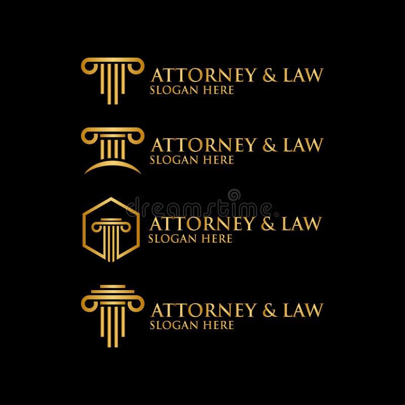 Plantilla abstracta del logotipo de la ley del abogado del pilar imagen de archivo libre de regalías