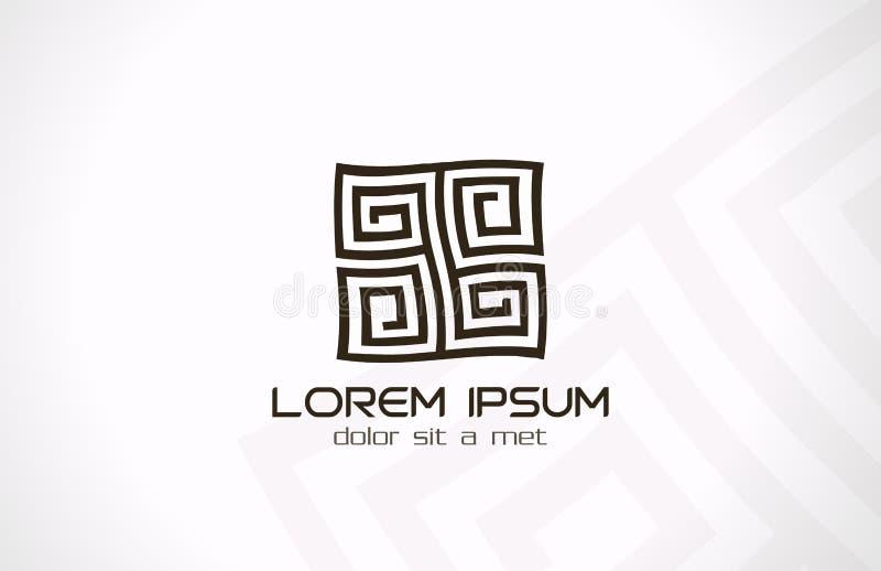 Logotipo abstracto del laberinto. Lógica del jeroglífico del rompecabezas. ilustración del vector