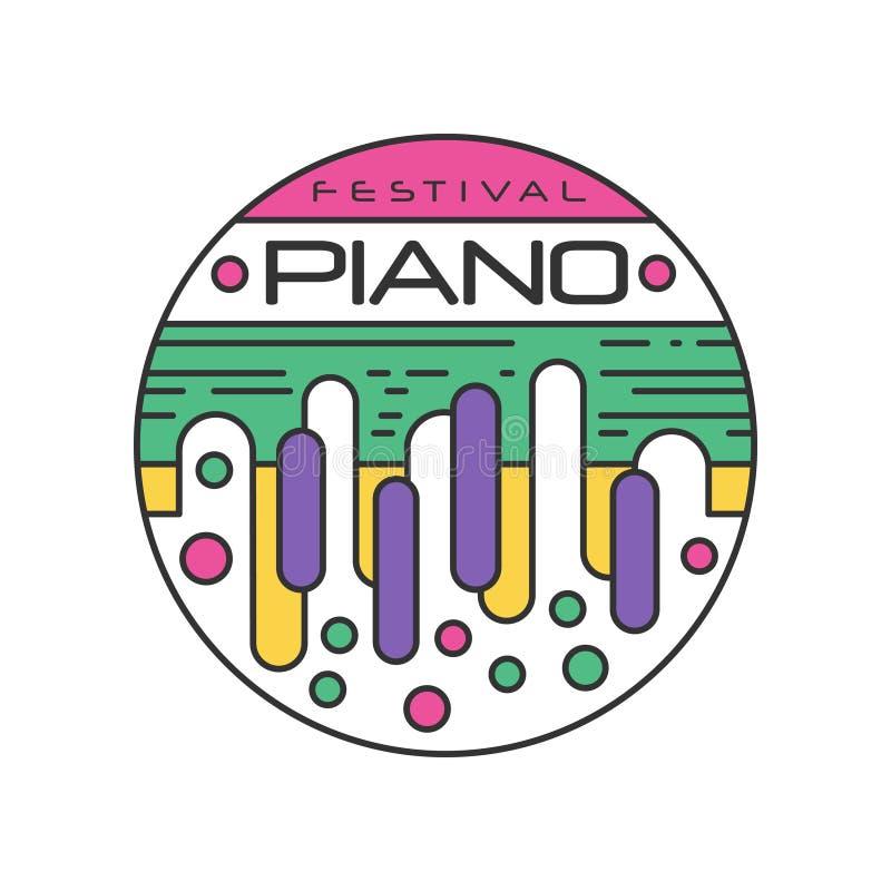 Plantilla abstracta del logotipo para el festival de música Etiqueta engomada linear creativa con llaves coloridas del piano Inst ilustración del vector