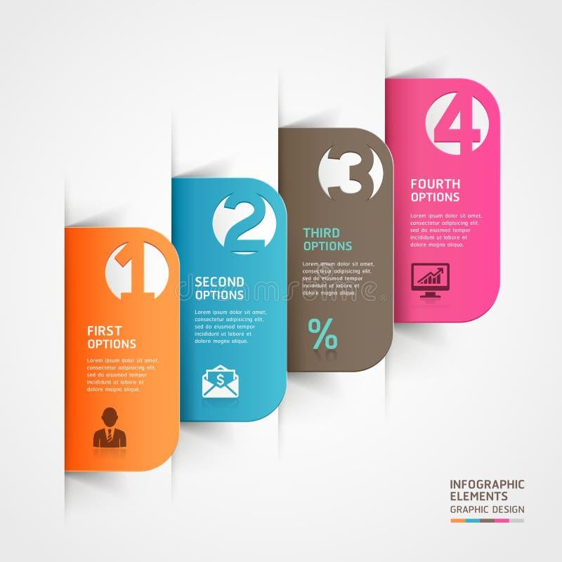Plantilla abstracta del número del infographics del corte del papel. stock de ilustración