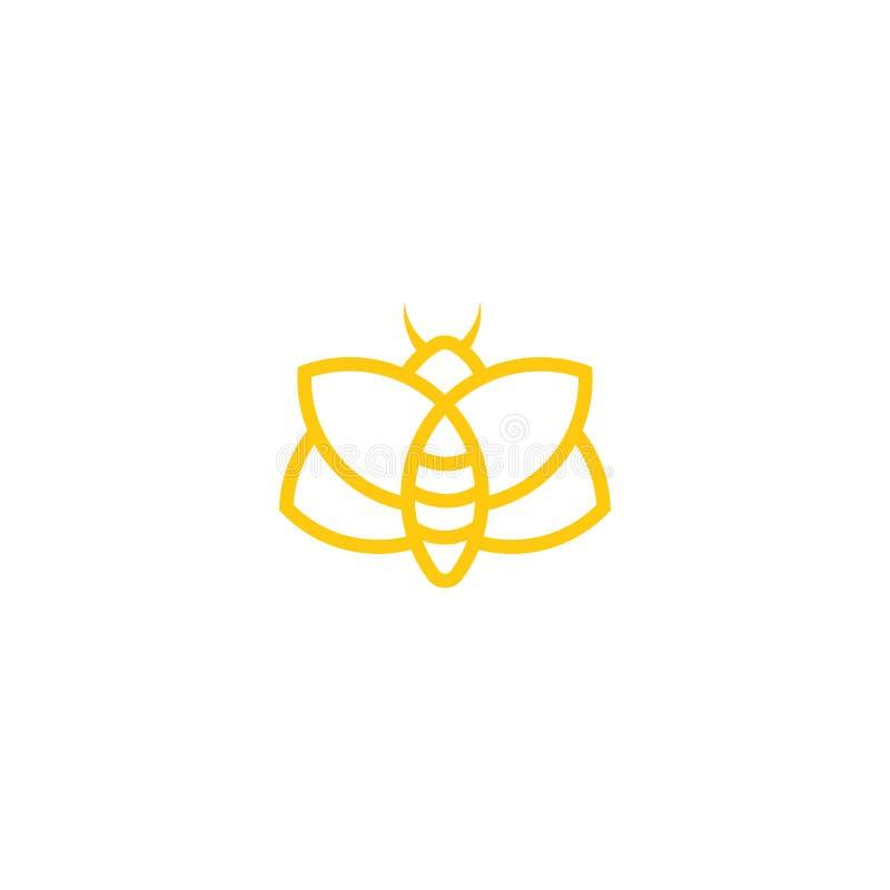 Plantilla abstracta del vector del diseño del logotipo de la abeja Resuma el icono, concepto creativo del logotipo de la abeja, e stock de ilustración