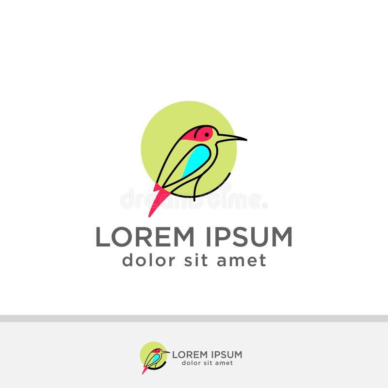 Plantilla abstracta del vector del diseño del logotipo del pájaro Icono creativo del símbolo del concepto de la tecnología del ne stock de ilustración