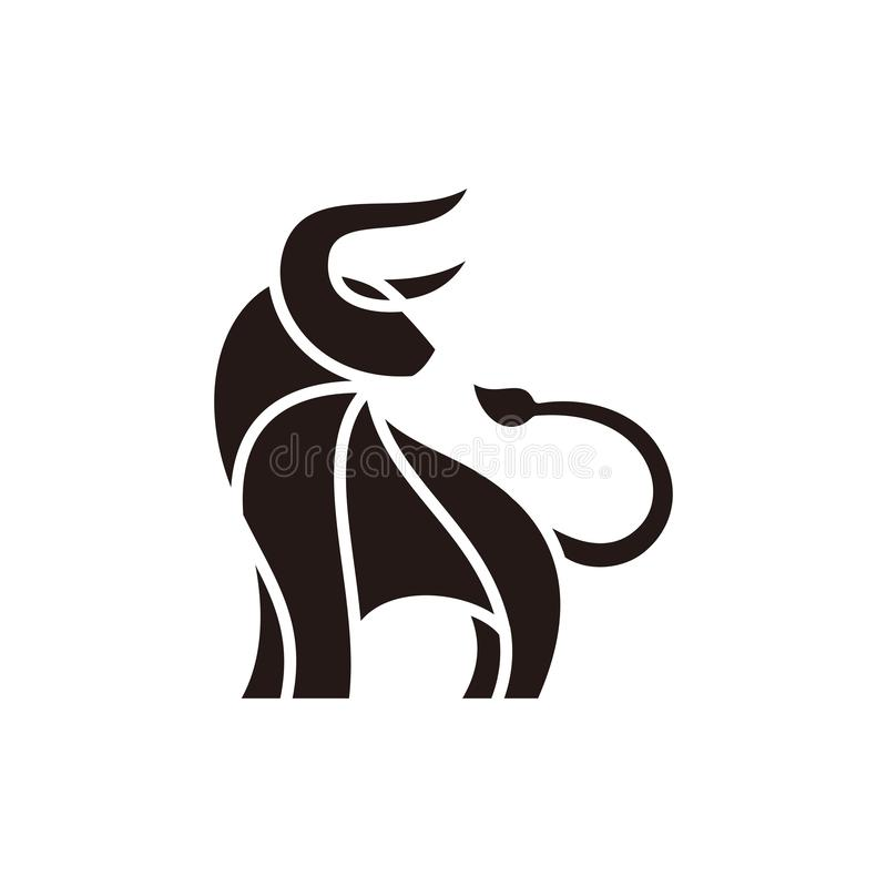 Plantilla abstracta del vector del ejemplo del diseño del negro de Bull ilustración del vector