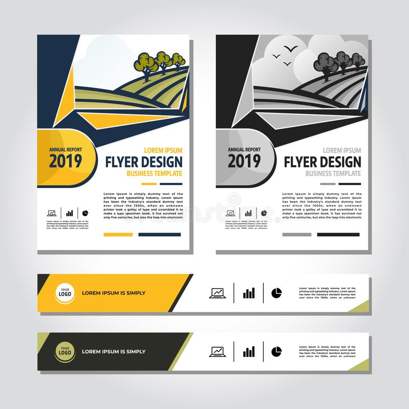 Plantilla abstracta del vector del negocio Diseño del folleto, disposición moderna de la cubierta, informe anual, cartel, flayer  ilustración del vector