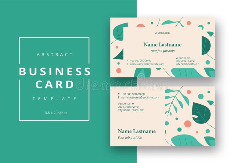 Plantilla abstracta mínima de moda de la tarjeta de visita en la disposición del follaje stock de ilustración