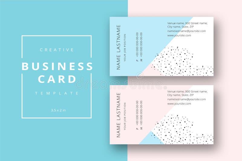 Plantilla abstracta mínima de moda de la tarjeta de visita en rosa y azul stock de ilustración