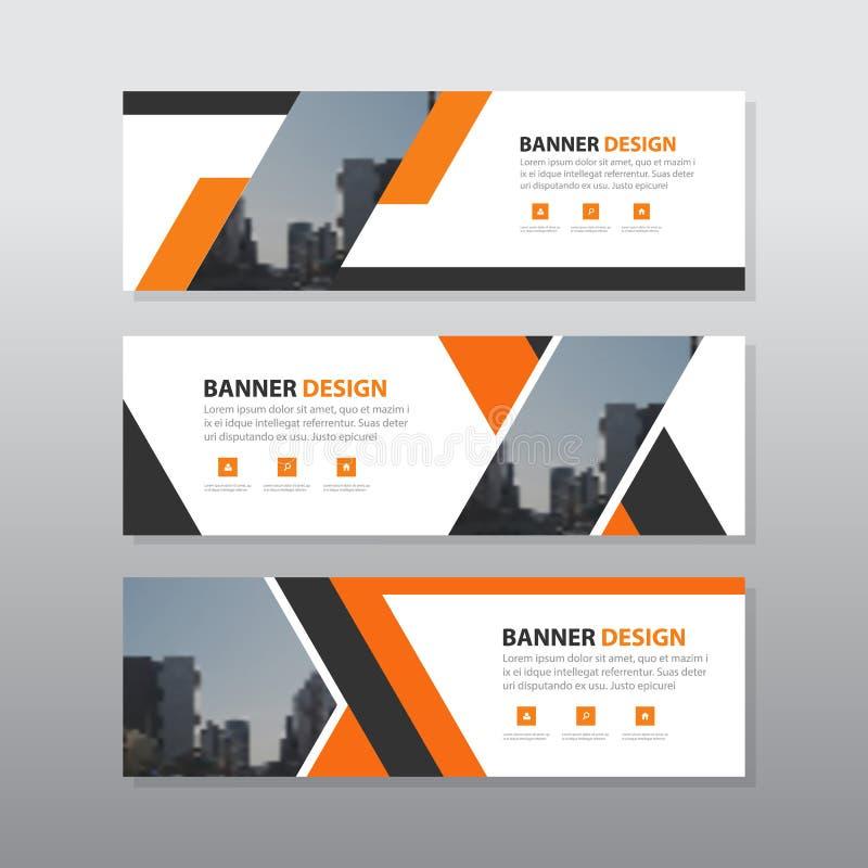 Plantilla abstracta negra anaranjada de la bandera del negocio corporativo, sistema plano del diseño de publicidad del negocio de stock de ilustración