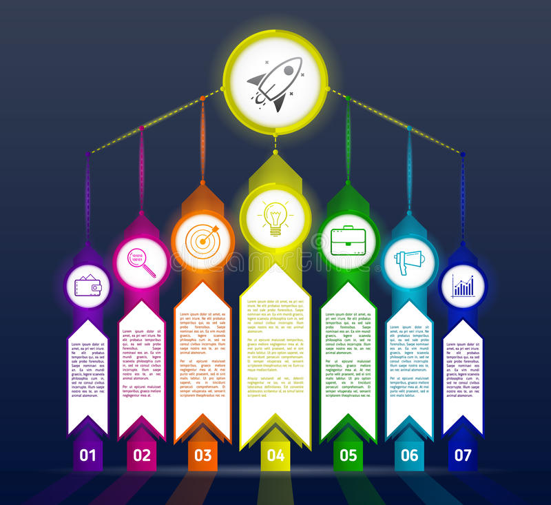 Plantilla abstracta oscura del infographics con las flechas Infograp negro stock de ilustración