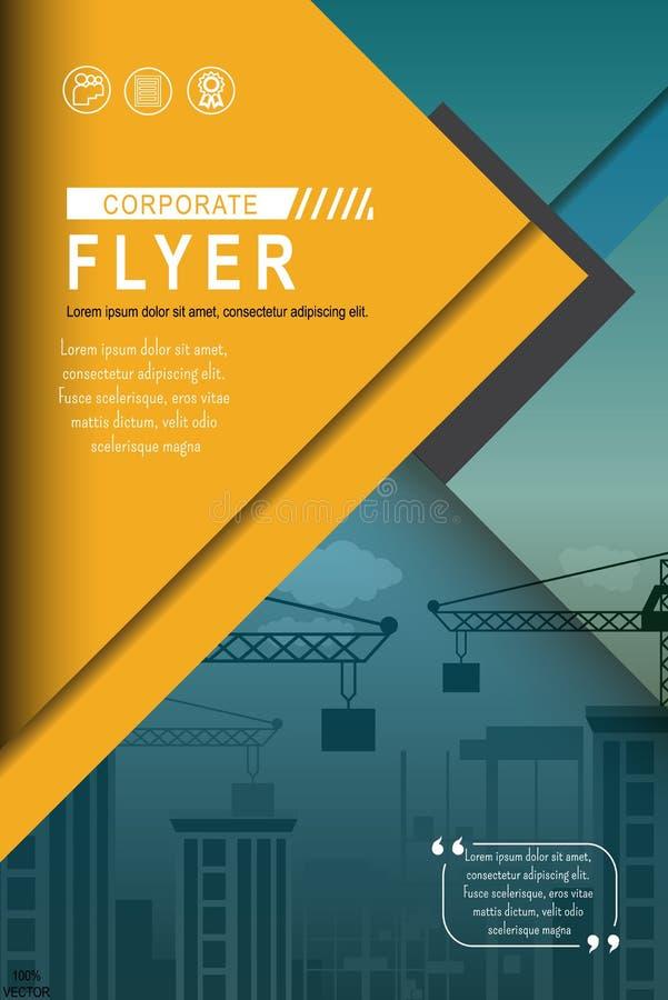 Plantilla abstracta urbana del vector del negocio con la construcción y las grúas de la ciudad libre illustration