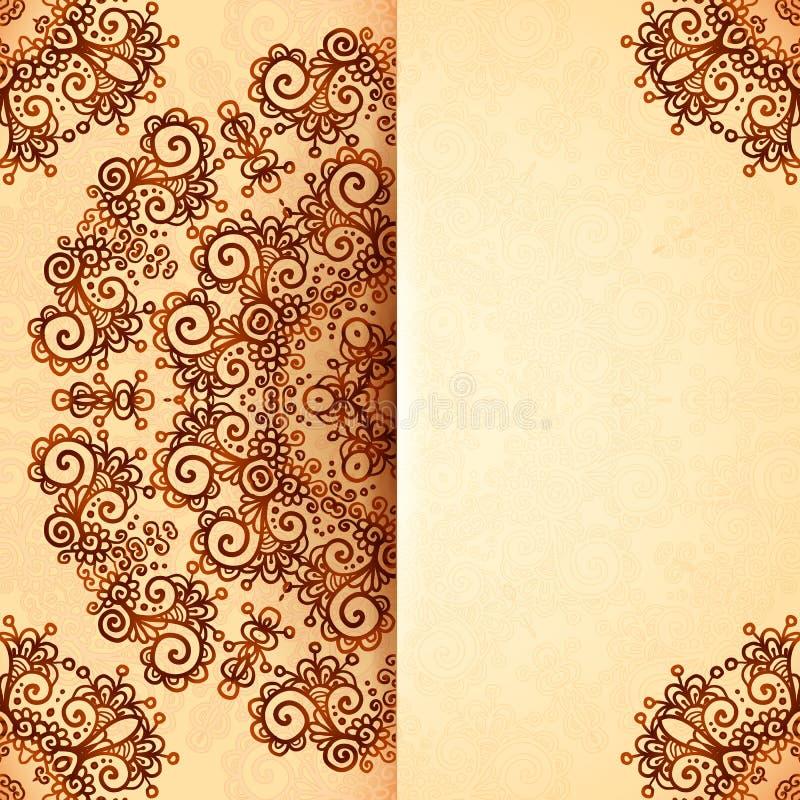Plantilla adornada del vintage en estilo indio del mehndi ilustración del vector