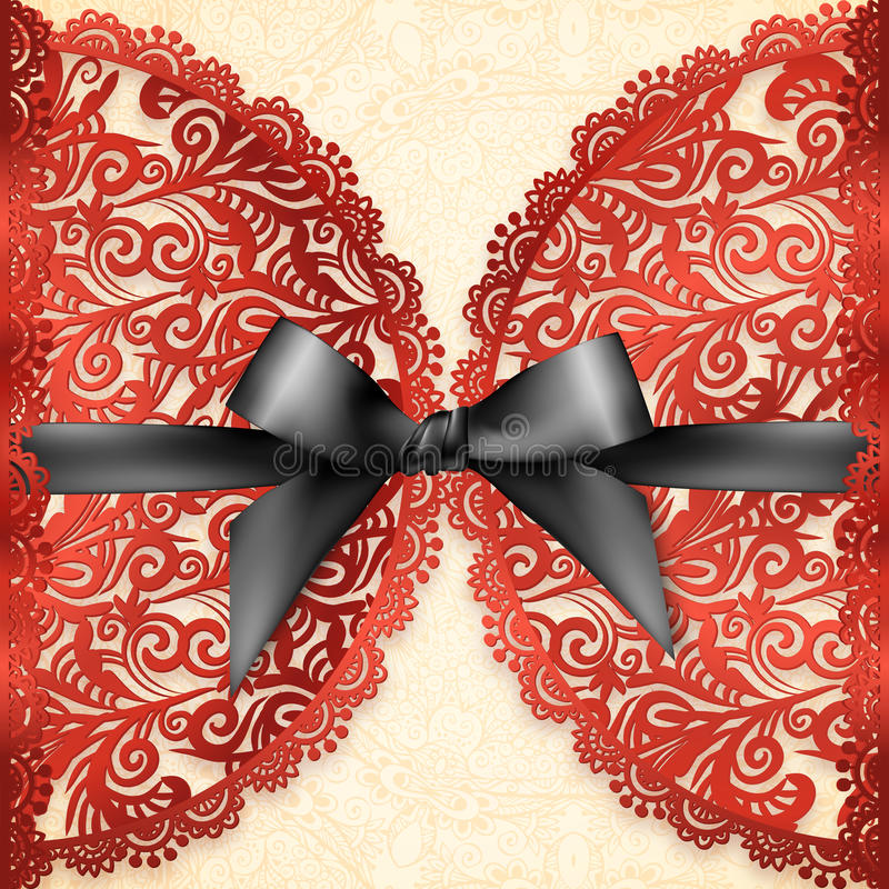 Plantilla adornada roja de la tarjeta de felicitación del vector del cordón libre illustration