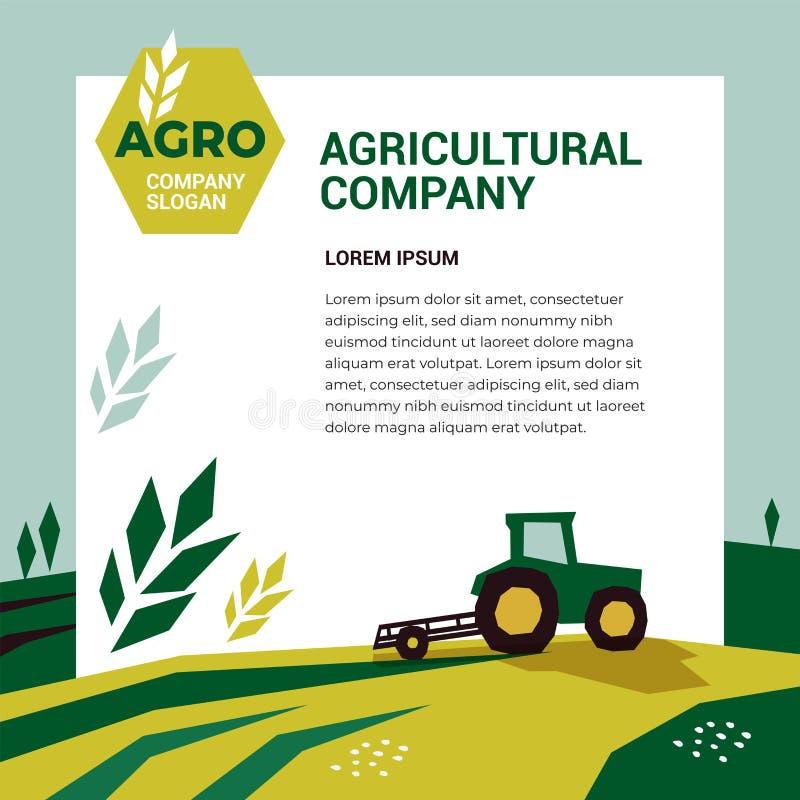 Plantilla agrícola del diseño de la compañía Ejemplo de la agricultura con el tractor stock de ilustración